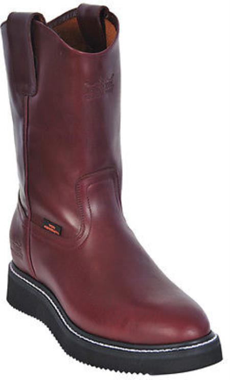 Buy KA7002 Mens Work BOOTS Burgundy ~ Maroon ~ Wine Color Round Toe Leather Grasso Los Altos Safety Shoes Harness