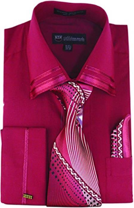 Burgundy ~ Wine ~ Maroon Color Fashion Matching Tie and Hankie Set Men's Dress Shirt