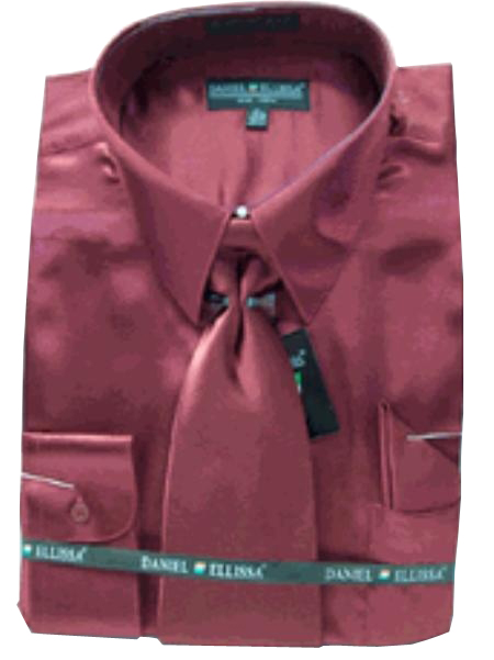 SKU#LJ342 Men's New Wine/Burgundy ~ Maroon ~ Wine Color Satin Dress Shirt Tie Combo Shirts