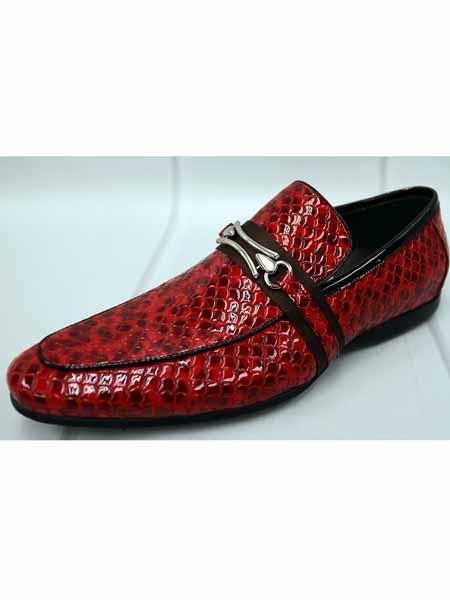 zota brand men's trimmed strap burgundy italian leather snake print loafers