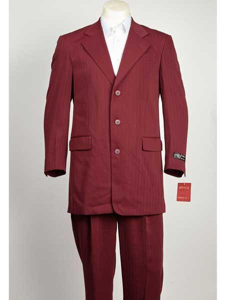 Burgundy ~ Wine ~ Maroon Color Shadow Ton on Ton stripe Pinstripe 3 buttons Pleated Pants