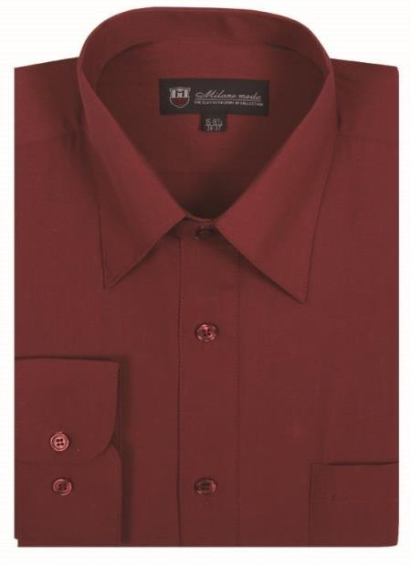 Solid Color Plain Traditional Burgundy ~ Wine ~ Maroon Color Men's Dress Shirt