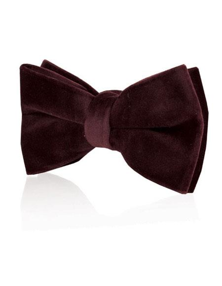 Mens Burgundy ~ Wine ~ Maroon Color Velvet Fashion Bow Tie