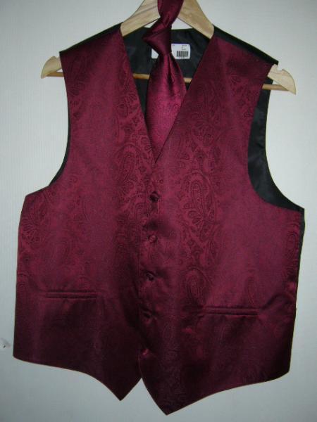 BURGANDY DRESS TUXEDO WEEDING Vest ~ Waistcoat ~ Waist coat & TIE SET Buy 10 of same color Tie For $25 Each