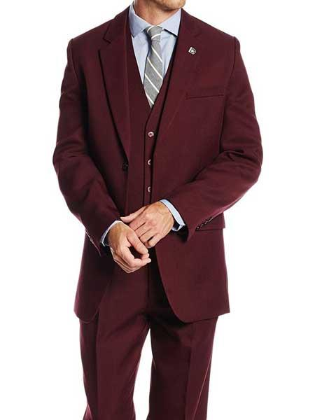 Mens Stacy Adams Brand Burgundy ~ Wine ~ Maroon Color Classic 1920s Single Breasted Suny Vested Notch Lapel 3 Piece Suit