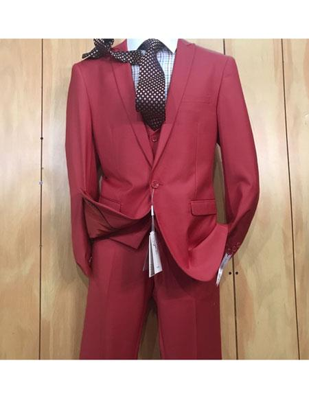 Mens 1 button style Peak Lapel Vested Slim fitted Burgundy ~ Wine ~ Maroon Color Suit
