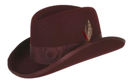 SKU#MAS87 GODFATHER NEW MENS Burgundy ~ Maroon ~ Wine Color 100% Wool Homburg Mens Dress Hats 4201