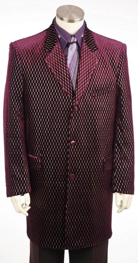 SKU#MQ3904 Mens Long Zoot Suit Burgundy ~ Wine ~ Maroon ~ Raisin