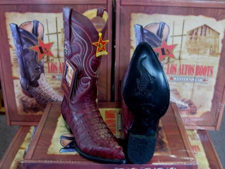 Los Altos Burgundy ~ Maroon ~ Wine Color Genuine Crocodile ~ World Best Alligator ~ Gator Skin Tail Western Cowboy Boot