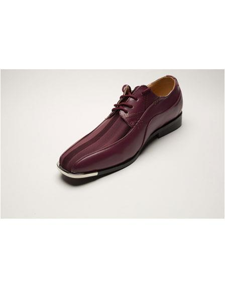 Mens Two Toned Lace Up Burgundy ~ Wine ~ Maroon Color Cushioned Insole Dress Shoes