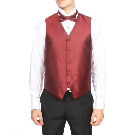 Mens Burgundy ~ Maroon ~ Wine Color Red Diamond Pattern 4-Piece Vest Set Also available in Big and Tall Sizes