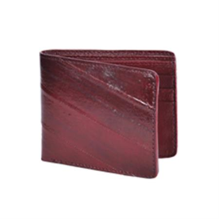 Wallet-Burgundy ~ Maroon ~ Wine Color Genuine Exotic Eel Skin