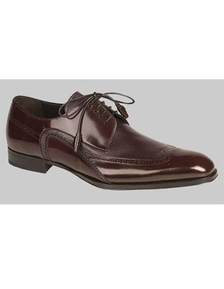 Buy GD519 Men's Lace Burgundy ~ Wine ~ Maroon Color Fancy Modified Wingtip Oxford Shoes Authentic Mezlan Brand