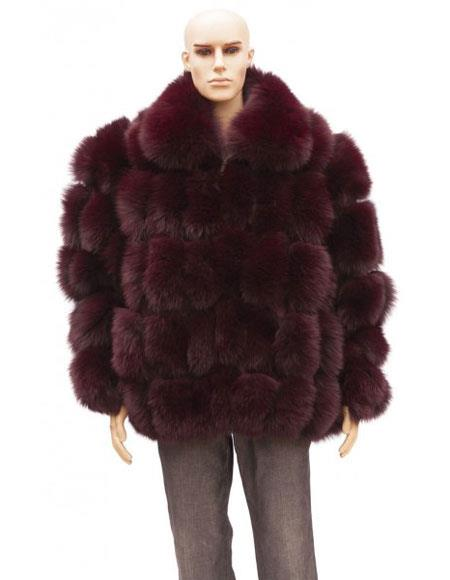 SKU#GD741 Mens Fur Burgundy ~ Wine ~ Maroon Color Full Skin Fox Collar Jacket