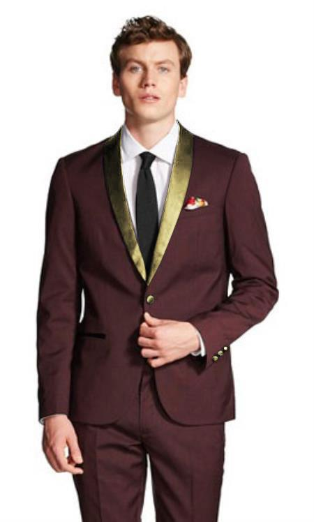 Burgundy ~ Wine ~ Maroon Suit And Gold Tuxedo Wool Suit For Men