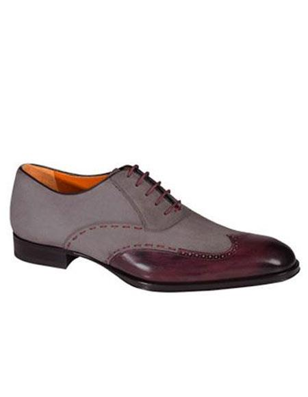 Buy AP493 Mens Two Tone Calfskin Lace Wingtip Leather Shoes Burgundy ~ Wine ~ Maroon Color/Gray Authentic Mezlan Brand