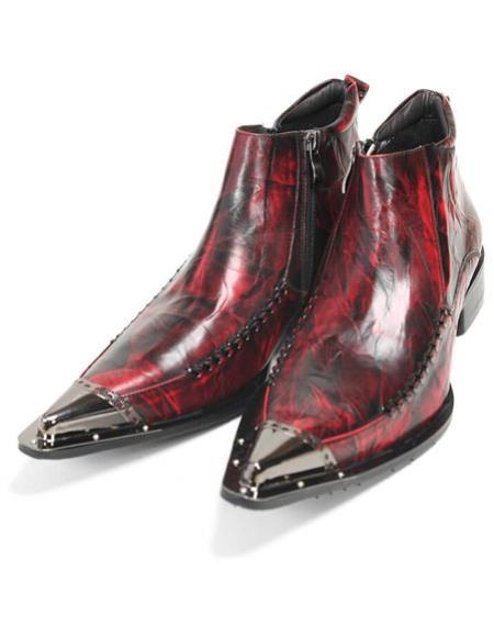 Mens High Fashion Burgundy ~ Wine ~ Maroon Color leather boot Zota Mens Unique Dress Shoes Unique Zota Mens Dress Shoe