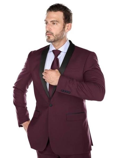Mens Slim Fit Single Breasted Black and Burgundy ~ Wine ~ Maroon Color Tuxedo