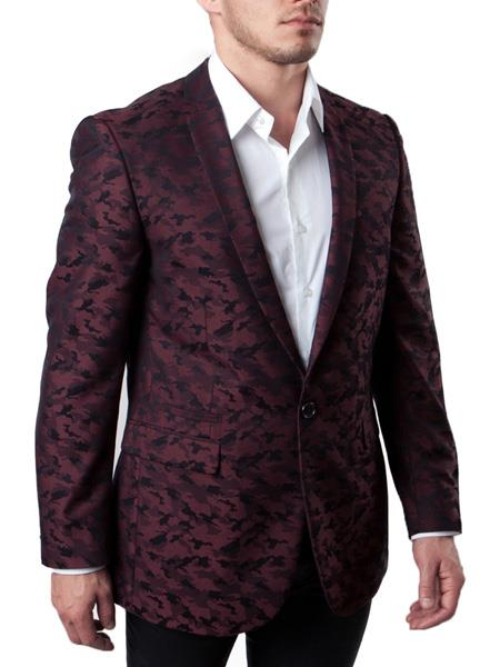 SKU#JS318 Mens Slim Fit Burgundy ~ Wine ~ Maroon Color ~ Maroon Tuxedo