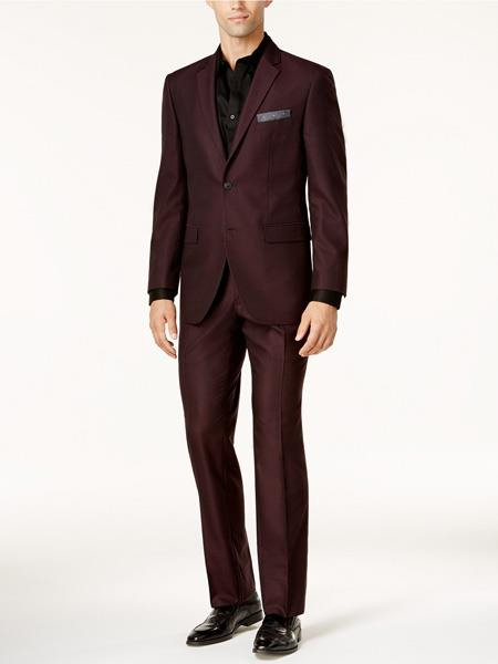 SKU#JS307 Mens Slim Fit Burgundy ~ Wine ~ Maroon Color ~ Maroon Tuxedo