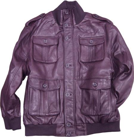 SKU#KA285 Mens Burgundy ~ Maroon ~ Wine Color Safari/Military Inspired Bomber With Bellowed Pockets Knit Collar/Cuffs tanners avenue jacket