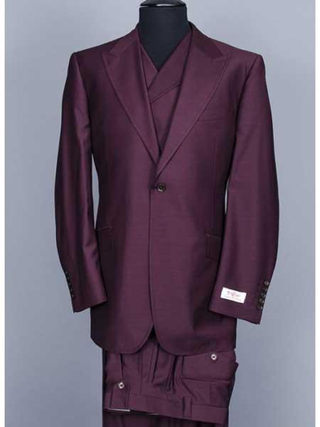 3 Piece Big Peak Lapel Burgundy Suit Vested Wide Leg Pants 1 Button Suit 100% Wool Full Cut Burgundy ~ Wine ~Double Breasted Vest Maroon Suit