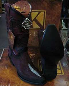 King Exotic Burgundy ~ Wine ~ Maroon Color Snip Toe Genuine Stingray mantarraya skin Western Cowboy Boot