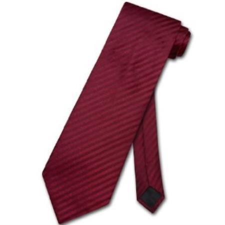 Burgundy ~ Maroon ~ Wine Color Vertical Stripes Design Mens Neck Tie