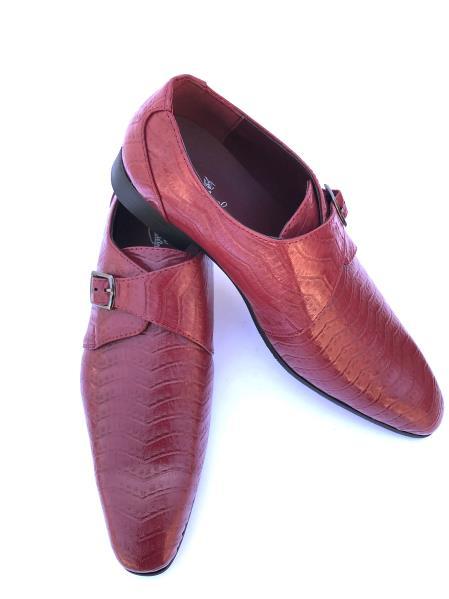 Mens Stylish Wave Designed Cap Toe Burgundy ~ Wine ~ Maroon Color ~ Wine Buckle Strap Dress Shoes