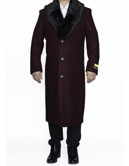 Mens Dress Coat Removable Fur Collar Full Length Wool Dress Top Coat / Overcoat in Burgundy ~ Wine ~ Maroon Color Authentic Reg:$700 Designer Alberto Nardoni Brand now on Sale