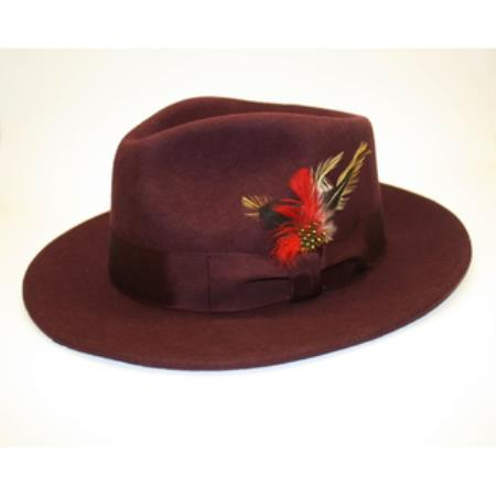 Mens Burgundy ~ Wine ~ Maroon Color Wool Fedora Hat