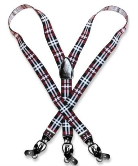 SKU#B7KQ Mens Design Burgundy ~ Maroon ~ Wine Color White Suspenders Y Shape Elastic Buttons & Clips