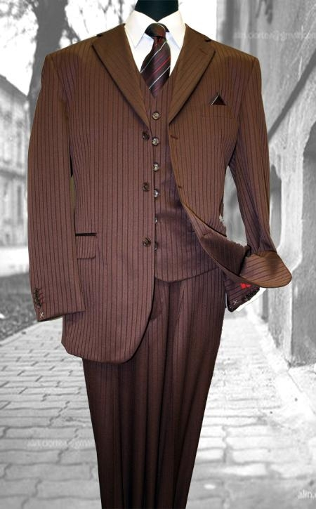 SKU#FN7654 Burgundy ~ Maroon ~ Wine Color Classic 3PC 2 Button Tone On Tone Stripe Mens three piece suit $175