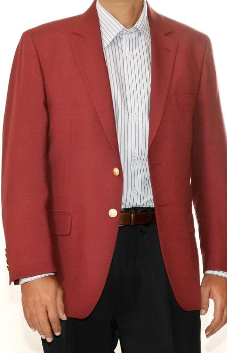 SKU#GD6823 Burgundy Two Button Blazer Wool Blend (Men + Women) $175