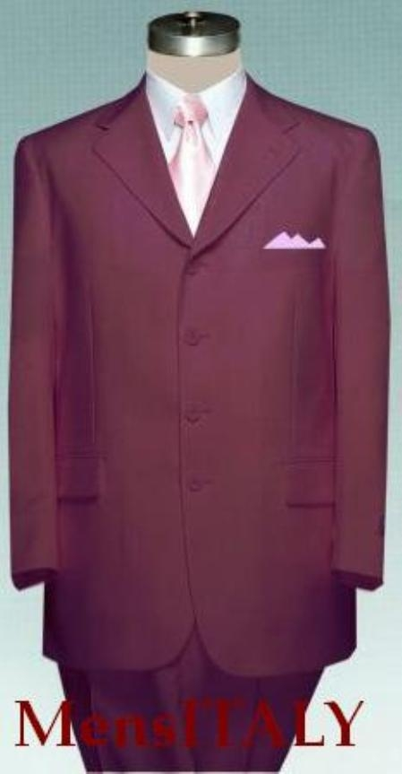 SKU# WOT443 Solid Burgundy ~ Maroon ~ Wine Color non-Vented Jacket + Pleated Pants