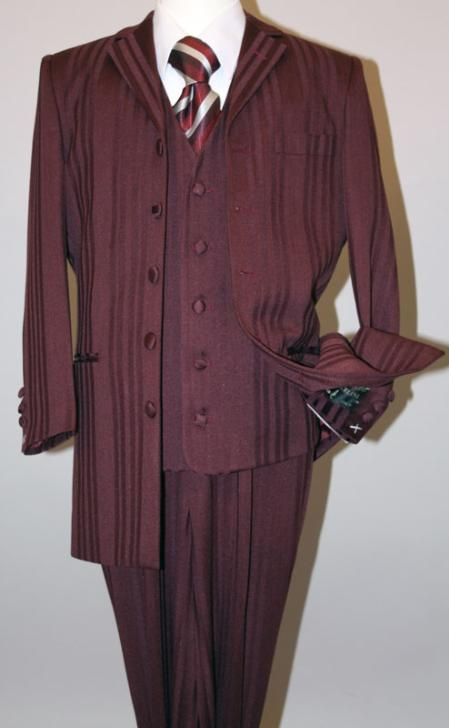 SKU#MU17071 Burgundy~Wine Long Fashion Shiny look Shadow Ton on Ton Pinstripe Vested Suit $139