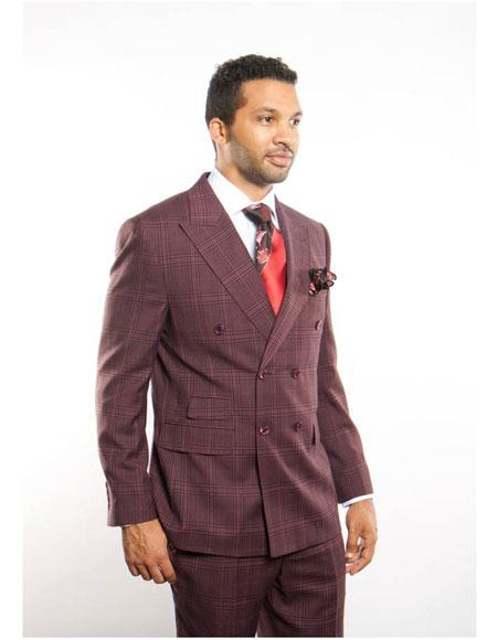 Men's Burugundy Plaid ~ Windowpane Can be Blazer or Sport Coat Pattern Men's Double Breasted Suits Jacket Peak Lapel Button Closure Suit