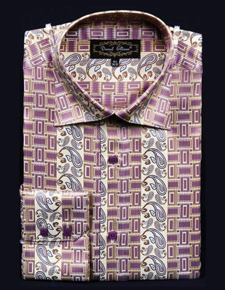 Mens High Collar Fashion ~ Shiny ~ Silky Fabric Butter Fancy Design Club Clubbing Clubwear Shirts