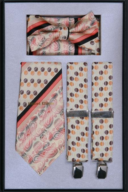 SKU#MG59 Mens Suspender, Tie, Bow Tie ~ Bowtie and Hanky Set Soft Butter