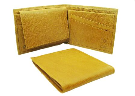SKU#MOA1922 Ostrich Wallet - Buttercup ID Holder Bifold, Smooth Ostrich Leather