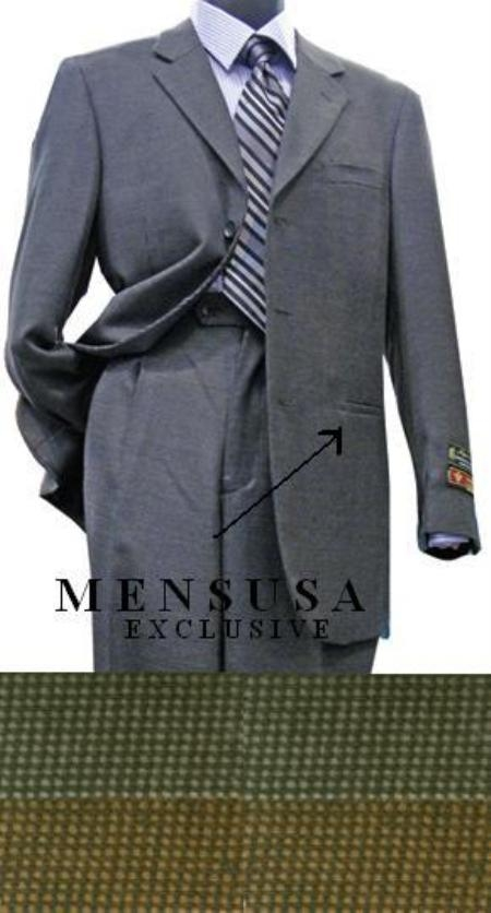 SKU# LNX335 3 Button 100% Wool Suit with Blue / Black Pindot Pattern or Mustard / Black Pocket inside pocket