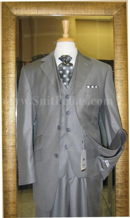 SKU#EG1904 3 Button 3 Piece Grey Sharkskin Wide Leg Suit $199
