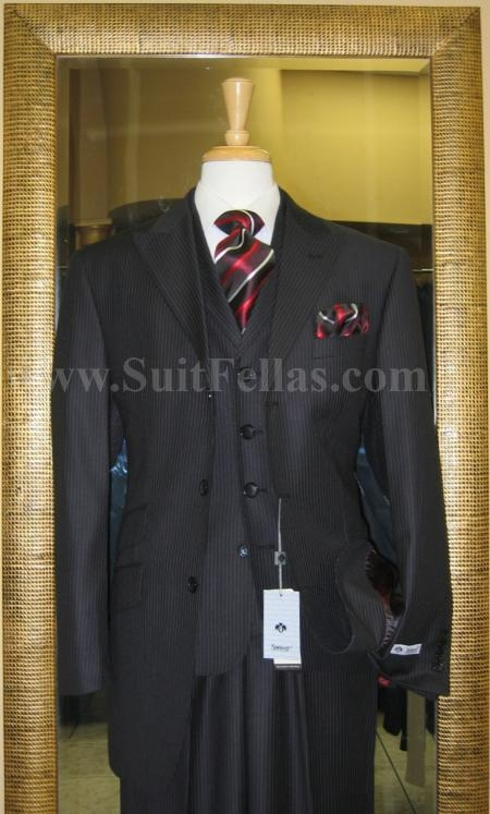 SKU#TY3467 3 Button 3 Piece Peak Lapel Black Pinstripe Wide Leg Suit $249