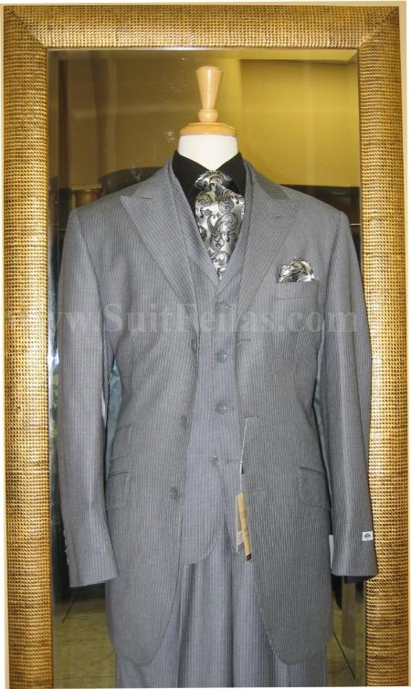 SKU#HF3902 3 Button 3 Piece Peak Lapel Grey Pinstripe Wide Leg Suit $229