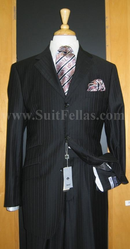 SKU#TV5421 3 Button Black Pinstripe Wool and Cashmere touch poly~rayon fabric  Wide Leg Suit $175