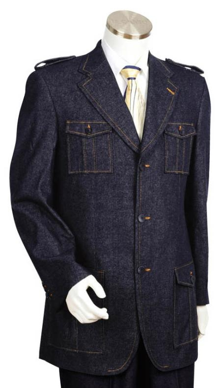 SKU#AV2485 3 Button Black Mens Suit $275