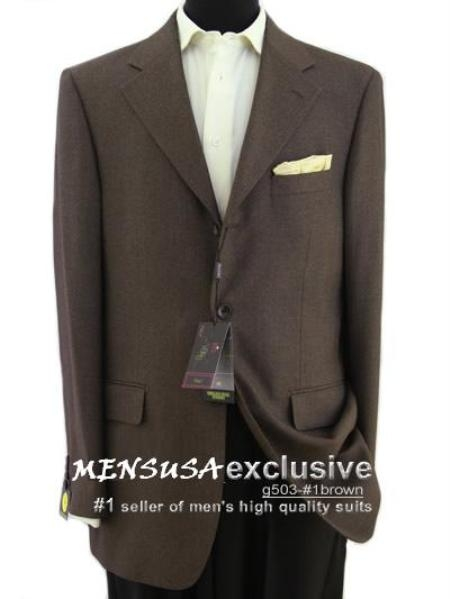 SKU# MYQ307 3 Button Brown Textured 100% Wool Blazer Weave Pattern $179