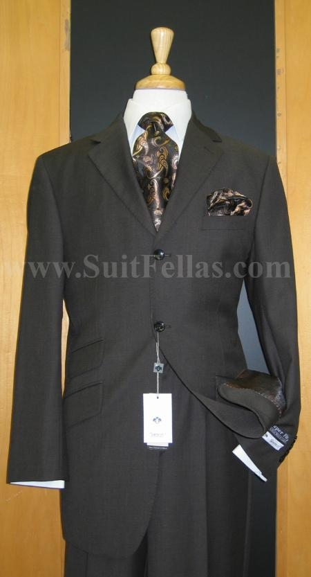 SKU#PS1212 3 Button Brown Wool and Cashmere touch poly~rayon fabric Wide Leg Suit $175