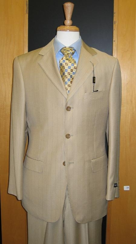 SKU#R&H2 3 Button Beige Tan ~ Beige & Blue Stripe ~ Pinstripe Pick Stich Double Vent Super 120s Suit $149