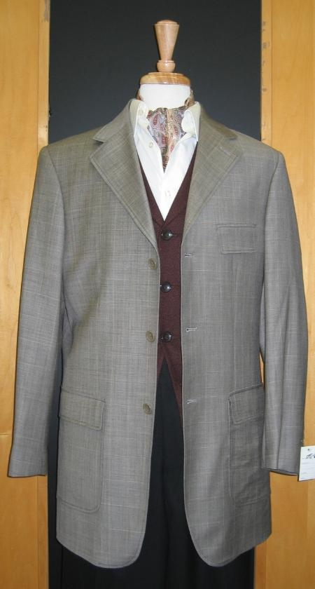 SKU#RF580 3 Button Grey and Beige Windowpane Wool And Cashmere Custom Sport Jacket $199